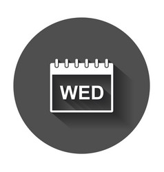 Wednesday calendar page pictogram icon simple vector