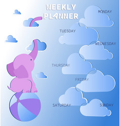weekly planner with cute pink elephant vector image
