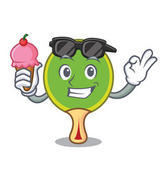 With ice cream ping pong racket character cartoon vector