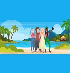 women group on beach taking selfie photo on vector image