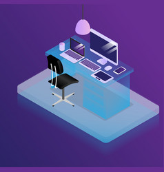 work place in office desk with office supplies vector image