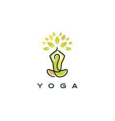 yoga leaf tree logo icon yoga leaf tree logo icon vector image