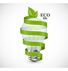 Eco energy concept Light bulb wrapped with green vector image