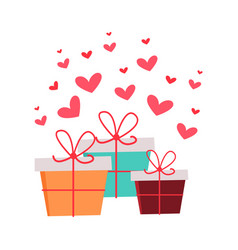 present boxes with hearts valentines day concept vector image vector image