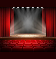 Red curtain and empty theatrical scene vector