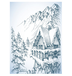 refuge in the mountains winter cabin vector image vector image