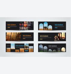set of black horizontal web banners of standard vector image vector image