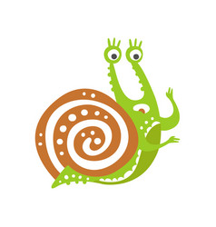 surprised funny snail character cute green vector image vector image