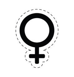 Female gender sex symbol cut line vector
