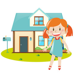 girl and blue house vector image