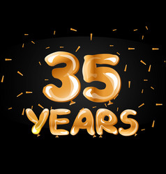 golden number 35 gold balloon vector image