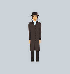 jewish rabbi dressed in black religion r vector image