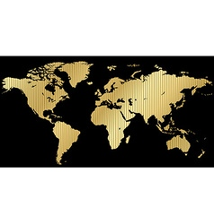 map of the world made of corrugated gold on a vector image