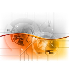orange wave on the tech background vector image vector image