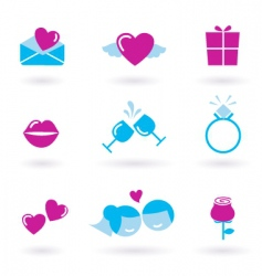wedding icons pink vector image vector image