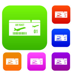 airline boarding pass set collection vector image