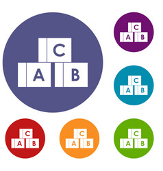 alphabet cubes with letters abc icons set vector image vector image