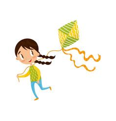 brunette little girl playing kite cute cartoon vector image vector image