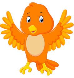 cute orange bird cartoon vector image vector image