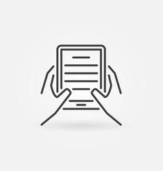 Hands holding ebook reader icon vector
