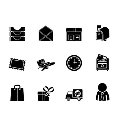 Silhouette Post and Office Icons vector image