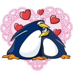 valentine penguins vector image vector image