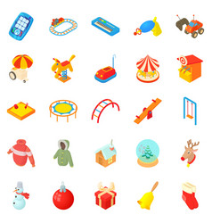 Wean icons set cartoon style vector