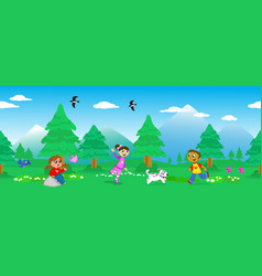 children in mount landscape seamless vector image