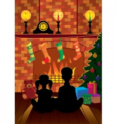 Christmas eve by the fireplace vector