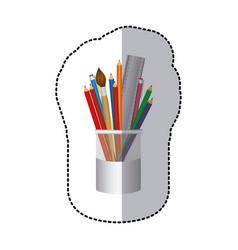 coloured pencils in jar icon vector image vector image