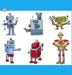 Robot cartoon characters set vector