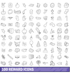 100 reward icons set outline style vector image