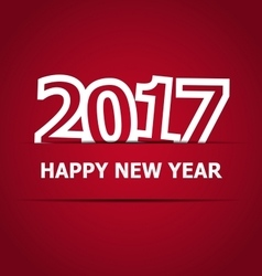 2017 Happy New Year on red background vector image