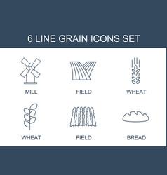 6 grain icons vector