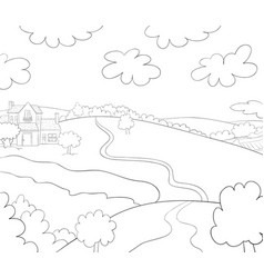 A children coloring bookpage a landscape image vector