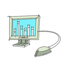 A monitor with mouse vector