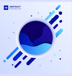 abstract blue fluid wave design in circle with vector image