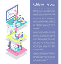 Achieve goal poster and text vector