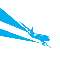 airplane blue silhouette on white background vector image