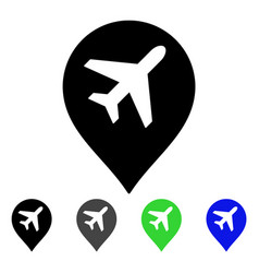 Airport map marker flat icon vector