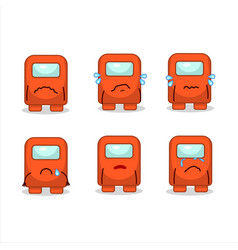 Among us orange cartoon character with sad vector