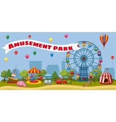 Amusement park landscape concept cartoon style vector image