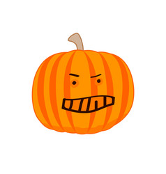angry cartoon pumpkin the evil pumpkin vector image