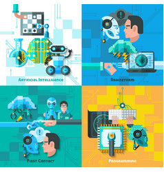 Artificial Intelligence Concept Icons Set vector image