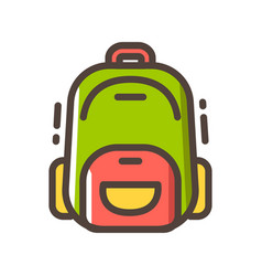 Backpack line color icon vector