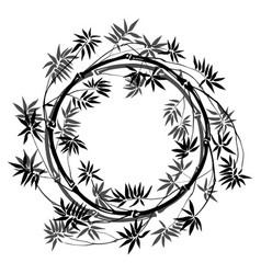 Bamboo round frame vector