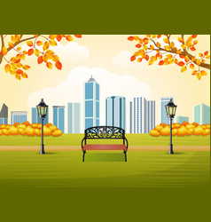 Beautiful autumn city park with town building back vector