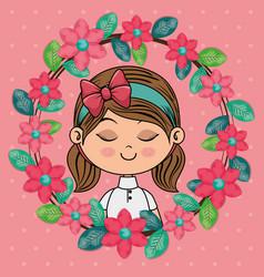 beautiful girl with floral frame kawaii character vector image