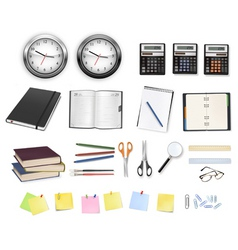 big set clocks and office supplies vector image