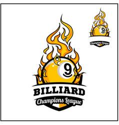 Billiard 9 ball flame badge vector